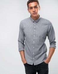 Casual Friday Shirt Windowpane Checked Shirt In Regular Fit - Grey