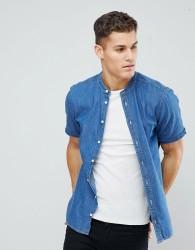 Casual Friday Short Sleeved Denim Shirt With Grandad Collar - Blue