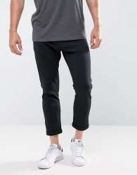 Casual Friday Slim Fit Cropped Trousers In Jersey - Black