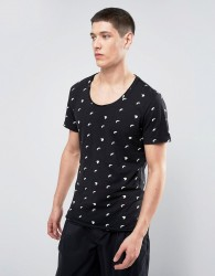 Casual Friday T-Shirt In All Over Eclipse Print - Black