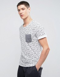 Casual Friday T-Shirt In All Over Geo Print With Contrast Pocket - White