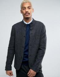 Casual Friday Wool Mix Blazer With Mandarin Collar - Grey