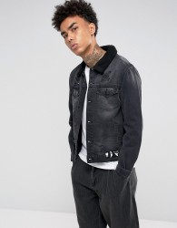 Cayler & Sons Denim Jacket In Black With Borg Lining - Black