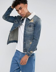 Cayler & Sons Denim Jacket In Blue With Borg Collar - Blue