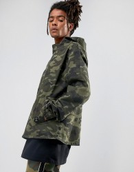 Cayler & Sons Denim Jacket In Camo With Half Zip - Green