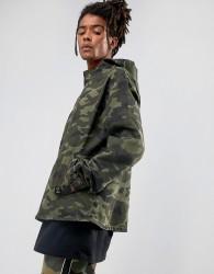 Cayler & Sons Denim Jacket In Camo With Half Zip - Green