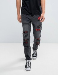 Cayler & Sons Skinny Jeans In Black With Distressing - Black