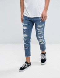 Cayler & Sons Skinny Jeans In Blue With Distressing And Raw Hem - Blue