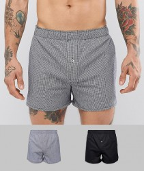 Celio 2 Pack Boxers In Gingham And Black - Black