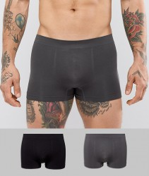 Celio 2 Pack Seamless Boxers In Black And Grey - Grey