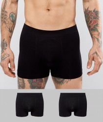 Celio 2 Pack Seamless Boxers In Black - Black