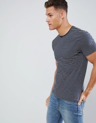 Celio Crew Neck Muscle Fit T-Shirt In Stripe - Navy
