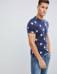 Celio Crew Neck T-Shirt In Cotton Leaf All Over Print - Navy