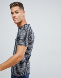 Celio Crew Neck T-Shirt In Stripe With Tipped Collar - Black