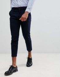 Celio cropped slim fit smart trouser in stripe - Navy