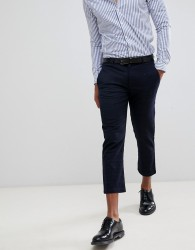 Celio cropped smart trousers in windowpane check - Navy