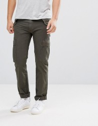 Celio Cuffed Cargo Trousers In Khaki - Green