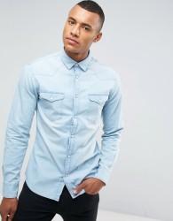 Celio Denim Shirt In Bleached Blue - Blue