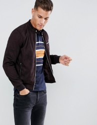 Celio Faux Suede Biker Jacket In Brown - Brown
