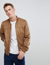 Celio Faux Suede Bomber Jacket In Camel - Tan