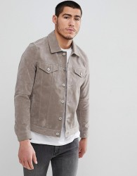 Celio Faux Suede Collar Jacket In Stone - Stone
