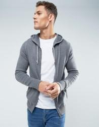 Celio Knitted Hoodie In Grey - Grey