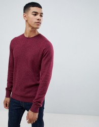 Celio Knitted Jumper In Herringbone - Red