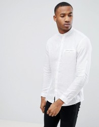 Celio Long Sleeve Shirt With Grandad Collar In White - White