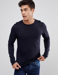 Celio Long Sleeve T-Shirt In Navy - Navy
