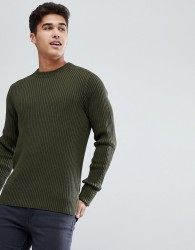 Celio Military Jumper In Chunky Rib - Green