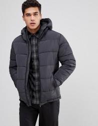 Celio Padded Jacket With Hood In Dark Grey - Grey