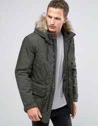 Celio Parka with Faux Fur Hood - Green