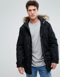 Celio Parka With Faux Fur Hood In Black - Black