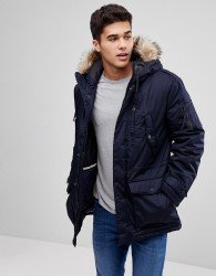 Celio Parka With Faux Fur Hood In Navy - Navy