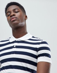 Celio Polo Shirt With Stripe - White
