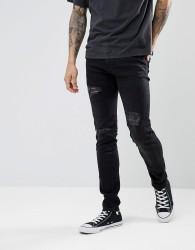 Celio Ripped Skinny Fit Jeans - Black