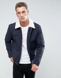 Celio Short Jacket With Borg Collar - Navy