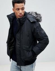 Celio Short Parka With Faux Fur Hood - Black