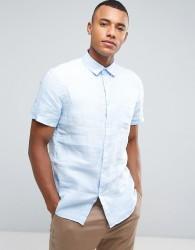Celio Short Sleeve Shirt In 100% Linen - Blue