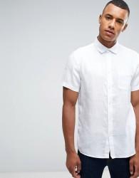 Celio Short Sleeve Shirt In 100% Linen - White