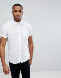 Celio Short Sleeve Shirt In 100% Linen - White
