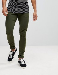 Celio Skinny Chinos In Khaki - Green