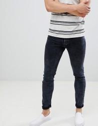 Celio Skinny Fit Jeans In Blue Black Wash - Blue