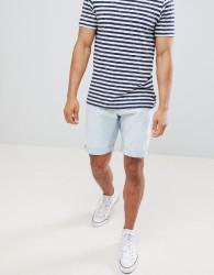 Celio Slim Fit Denim Shorts In Bleached Wash - White