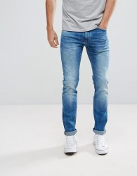 Celio Slim Fit Jeans In Mid Wash Blue With Distressing - Blue