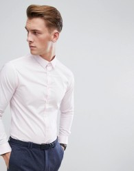 Celio Slim Smart Long Sleeve Shirt In Pink - Pink
