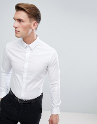 Celio Slim Smart Long Sleeve Shirt In White - White