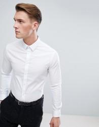 Celio Slim Smart Long Sleeve Shirt In White - White