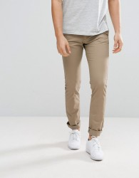 Celio Straight Fit Chinos In Tan - Tan
