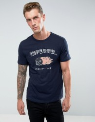 Celio T-Shirt With Motor Print - Navy